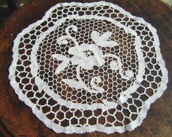 Vintage Handmade Lace Doily Hand Made Needle Lace Doily