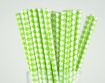 Green Diamond Paper Straws - Mason Jar Straws - Party Decor Supply - Cake Pop Sticks - Party Favor