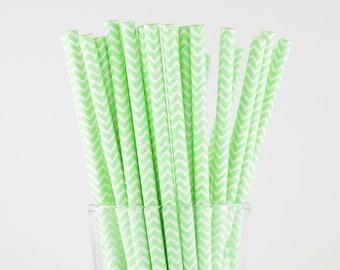 Mint Color Chevron Paper Straws - Mason Jar Straws - Party Decor Supply - Cake Pop Sticks - Party Favor