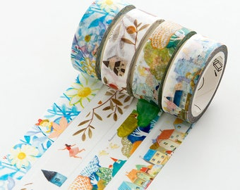 Set of 4 Rolls Watercolor Illustration Washi Tape - 15mm x 7m - Gift Wrapping - Decorative Tape - Scrapbooking Sticker