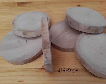 6 natural wood slices - ref: R2