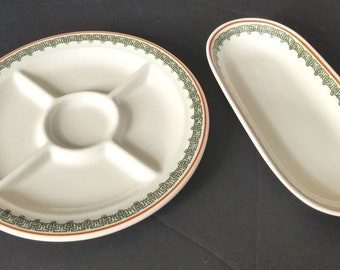Vintage MCNichol Carlton Serving Hors d'oeuvre Tray Platter Boat Green Trim