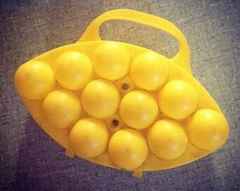Vintage yellow egg box
