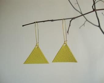 Leather earrings triangle geometric yellow