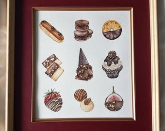 Original painting of assorted chocolate dessert with frame.