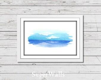 Sea print, sea printable, sea wall decor, blue print, sea art, sea, clouds, cloudy sky, watercolor print