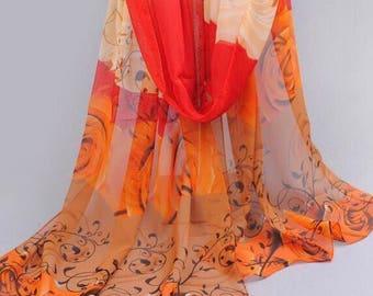 Orange brown rose hijab