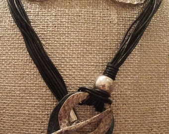Black Corded Silver & Patina Medallion