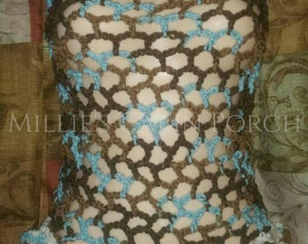 Honeycomb Fishnet Style Crochet Ladies Summer Top