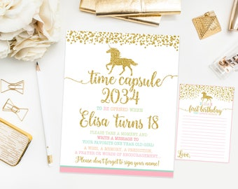 Unicorn Time capsule first birthday sign, unicorn first birthday party, gold confetti ,  printable print