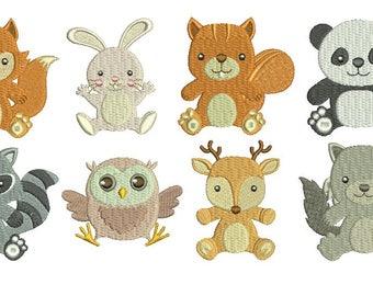 Woodland Baby Animals EMBROIDERY Set Fill Design Machine deer bear fox rabbit owl beaver raccoon Embroidery Instant Download EN2042F