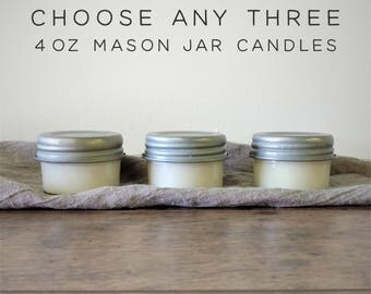 Soy Candles Bundle Deal - Choose Any Three 4 oz Mason Jar Candles, Soy Wax Candles, Scented Candles, Modern Farmhouse Decor