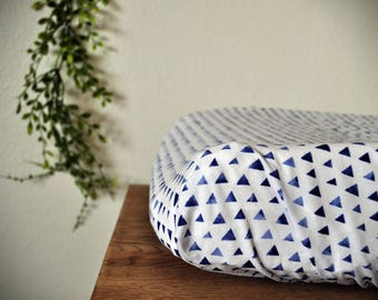 Changing Pad Cover - Blue Triangle Cover - Blue Nursery - Baby Boy Changing Pad Cover - Baby Girl - Simple Design - Diaper Change Cover