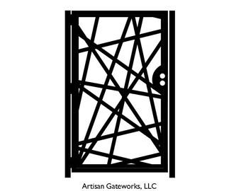 Decorative Steel Gate - Strike - Geometric Gate - Steel Panel Art - Outdoor Gate - Metal Art - Modern