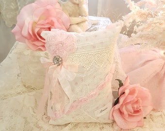 Romantic Shabby Chic Pink French Decorative Lavender Sachet Vintage Lace Amour With Crystal Button Embellishments French Cottage Pillow