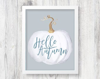 Hello Autumn Print *Digital Download/Printable Art* Fall Printable - Autumn Printable - Fall Decor - Autumn Decor - Pumpkin Decor - Fall Art