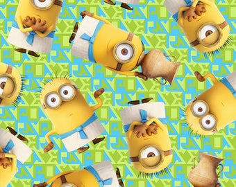 Minions on green fabric by the yard, minion fabric, printed quilting cotton, minion quilting fabric, sewing fabric, Quilting Treasures