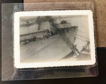 Two Vintage WW2 soldier's personal photo's of Ship.