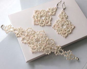 Bridal Jewellery, Jewellery, Bridal Set,   bride gift,  Women Accessories, Gift, Tatting set, beads Set, accessory ,Elegance