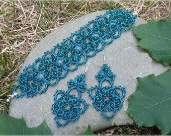 blue Jewellery , Jewellery, Jewellery necklace, jewelry, Necklaces, gift for Women , Gift, Gift for girls, Tatting Bracelet, beads Set