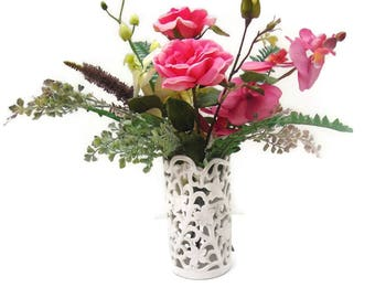 Pink Rose, Orchid & Fern, Silk Table Arrangement Free Delivery