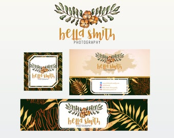 Rustic Premade Logo Design Package with Logo, Business card, Banner, Photography Branding, and Avatar. Branding Package