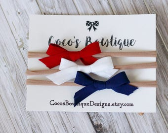 SALE- The Patriotic Hair Bow Trio - Set of 3 - Red White Blue