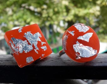Silver leaf and resin ring | Orange ring square or round | Rings in resin | Handmade | Jewelry in resin | Silver leaf | ANNEAU | Bijoux |