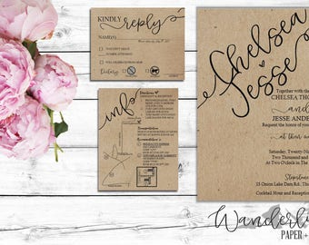 Rustic Wedding Invitation Set - Digital High Resolution PDF