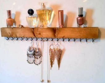 Hanging jewelry organizer, wall necklace holder, earrings display, bracelets holder, gift for her