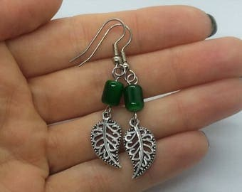 Green Leaf Earrings (Pierced or Clip-On)