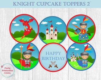 Knights Cupcake Toppers, Knight Birthday Tags, Knights Circle Stickers, Printable PDF, Instant Download
