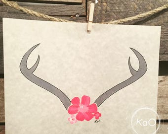Acrylic painting on parchment paper - illustration horns and pink flowers