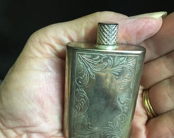 Vintage Etched Silver Plated Perfume Bottle