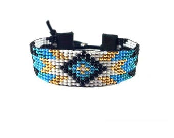 Beaded Bracelet - Peyote Stitch - Tribal - Stackable - Gift