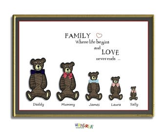 Family Tree Keepsake , Digital Download , Printable Teddies , Family where Life begins and Love never Ends quote, Family Names