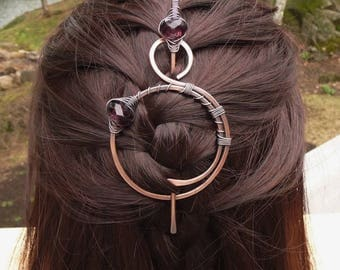 Hair Barrette Stick Copper Shawl Pin Scarf Pin Hair Slide Barrettes Celtic Copper Brooch Hair Jewelry Metal Pins Large Hair Clips for Women