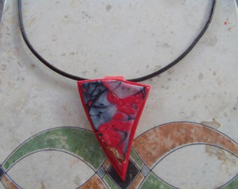 polymer clay necklace and coffee color leather cord