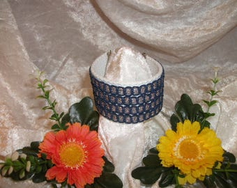 White and blue Cuff Bracelet