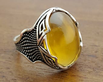 925K Sterling Silver Mens Ring Cz citrine colored