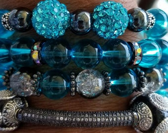Blue Bracelet, Gemstones, Bead Bracelet