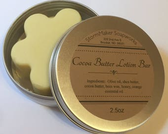 All Natural Lotion, Cocoa Butter Solid Lotion Bar, Moisturizing, Soothing