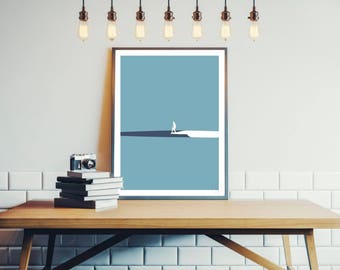 Design surfing poster - Malibu wave minimalist 30x40cm