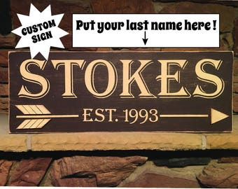 Name, Personalized, Established, Wood Sign, Family, Distressed, Brown, Beige, 3D Art.