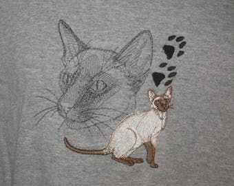 New Machine Embroidered Siamese Cat Scene T-Shirt Add Name For Free