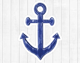 "Anchor Sticker, nautical decal, rustic blue anchor, large die cut sticker, vinyl sticker, removable, 2 1/2"" x 3 1/2"" stickers"