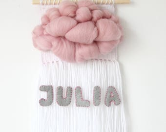 Personalised tapestry with baby name / Woven cloud / Name wall hanging / Nursery tapestry weaving / Personalised gift / Wall hanging