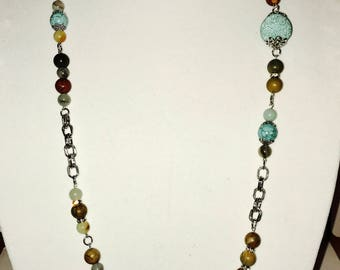 Chain And Bead Long Necklace