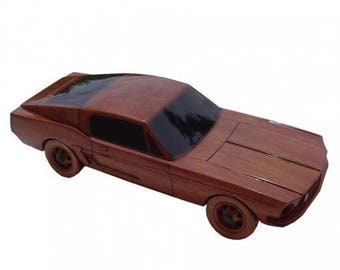 Mustang Fastback Automobile Wooden Model - Made of Mahogany Wood