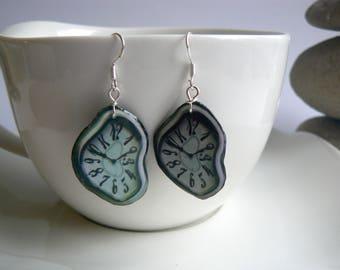 Handmade hanging earrings salvador dali watch